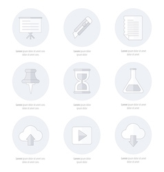 Office icons flat design line icon style vector