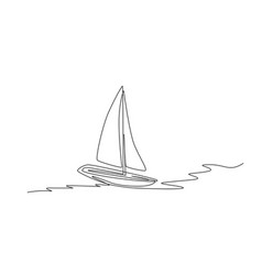one continuous line drawing sail boat sailing vector image