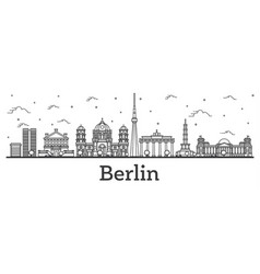 outline berlin germany city skyline with vector image