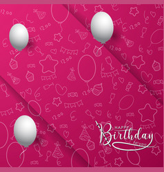 Pink happy birthday background vector