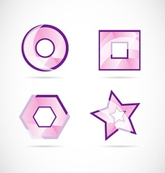 Pink logo set icon element vector image