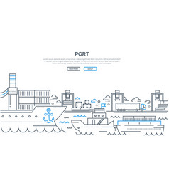 Port - modern line design style vector