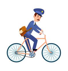postman on bike delivering mail cartoon vector image