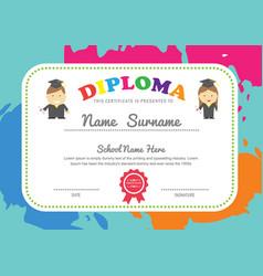 Preschool kids diploma certificate design vector