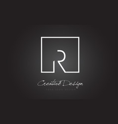 R square frame letter logo design with black and vector