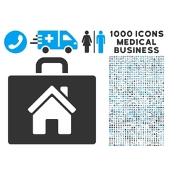 Realty case icon with 1000 medical business vector