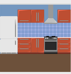 Red kitchen interior on a blue background in a vector