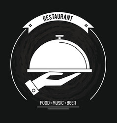 Restaurant and food emblem in black and white vector