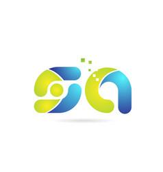 Sa s a blue green combination alphabet letter vector