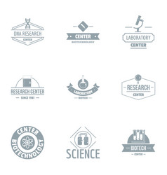 Science centre logo set simple style vector