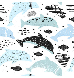 Seamless pattern with dolphins in childish style vector