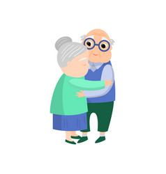 senior old woman give a lovely hug to senior vector image