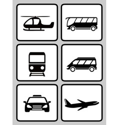 Set icons with transport black silhouette vector