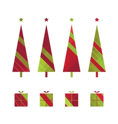 set of christmas trees and gift boxes vector image