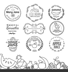 Set of different logotype templates for fruit vector