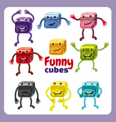 set of funny characters funny dice in different vector image