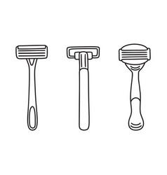 set of three disposable shaving razors line art vector image