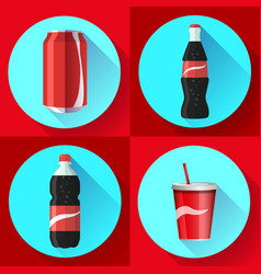 soda bottle set with red lable flat icon vector image