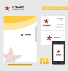 star fish business logo file cover visiting card vector image