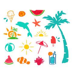 Summer hand drawn beach icon element set vector