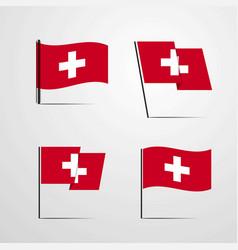 Switzerland waving flag set design vector