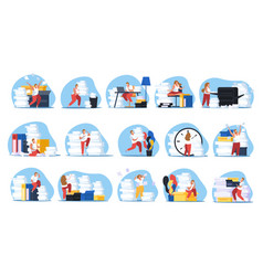 Tired people set vector