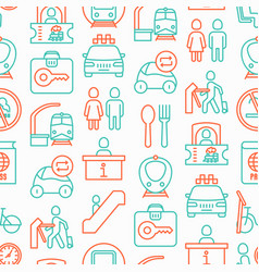 train station seamless pattern vector image