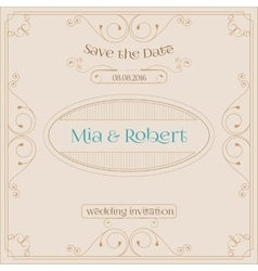 wedding invitation card with floral ornaments vector image