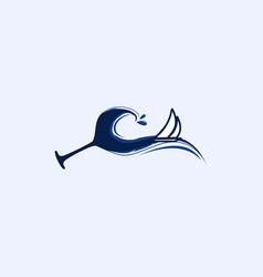 wine waves ocean creative modern logo vector image