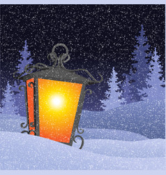 winter landscape with vintage lantern in snowbanks vector image