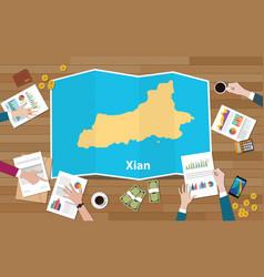 Xian shaanxi province china city region economy vector