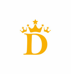 yellow d initial letter with triple crown symbol vector image