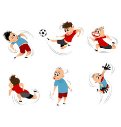 boys at playing football set vector image