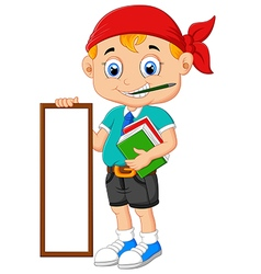 Cartoon boy holding board and books vector image vector image