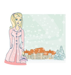 fashion winter girl with shopping bags vector image vector image