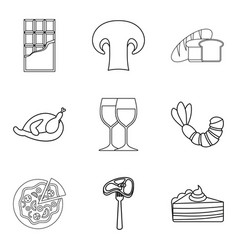 junket icons set outline style vector image
