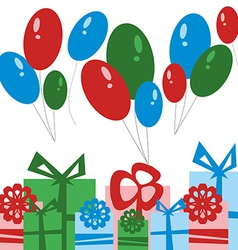 Party Card Gift Boxes and Balloons vector image vector image