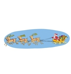 Reindeer sled carries Santa Claus on a sleigh vector image
