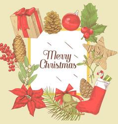 christmas greeting card new year hand drawn vector image