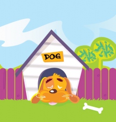 dog sleeping in dog house vector image vector image
