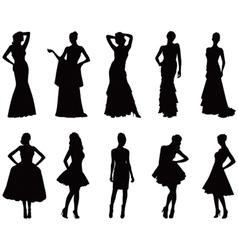 Elegant silhouettes of women vector image vector image