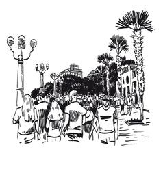 Hand drawn resort city vector image