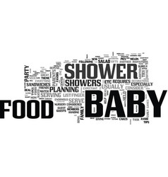 Baby shower food what and how to serve text word vector