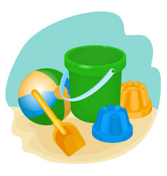 childrens toys and supplies for games vector image vector image
