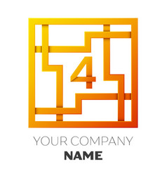 Number four symbol in colorful square maze vector