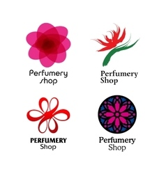 Red green and purple perfumery brand logos set vector image