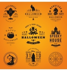 Set Vintage Happy Halloween Badges and Labels vector image vector image