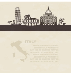 Silhouettes of famous landmarks in Italy vector image vector image