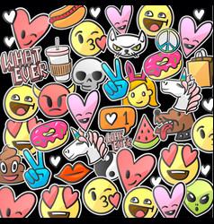 emoji smile faces on a black background vector image vector image