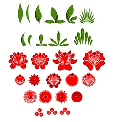 Gorodets painting set of elements Flowers and vector image